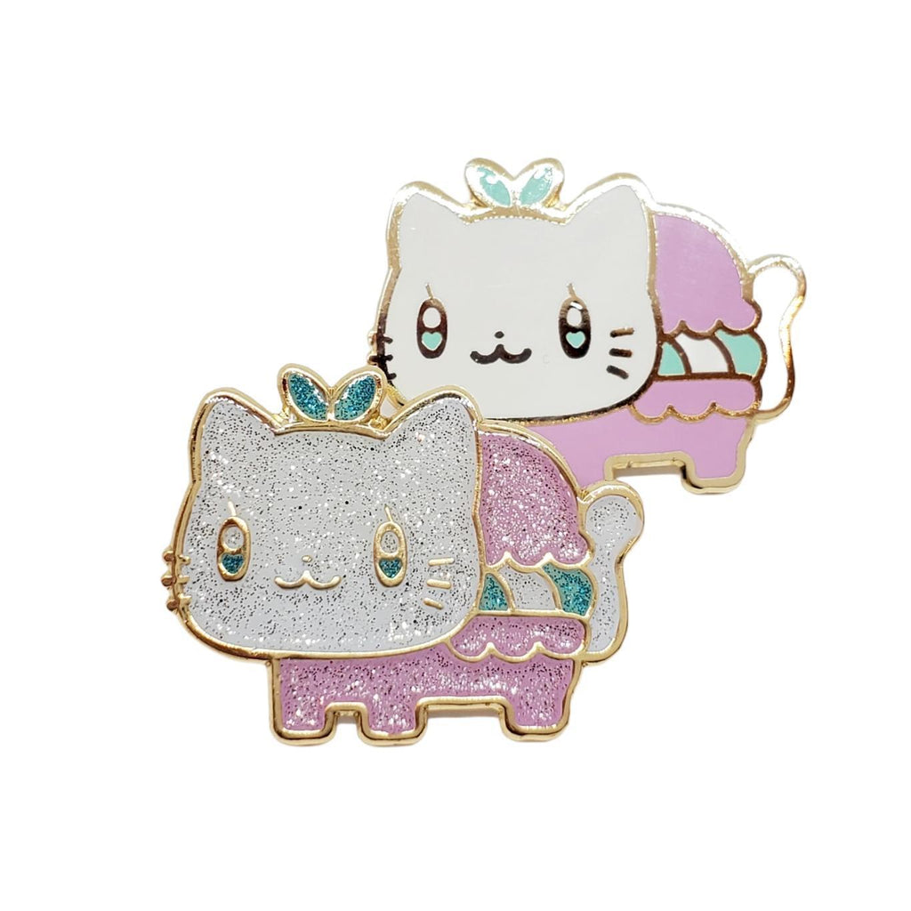 Enamel Pin - Meowcaron Pink in Glitter or Solid by Mis0 Happy