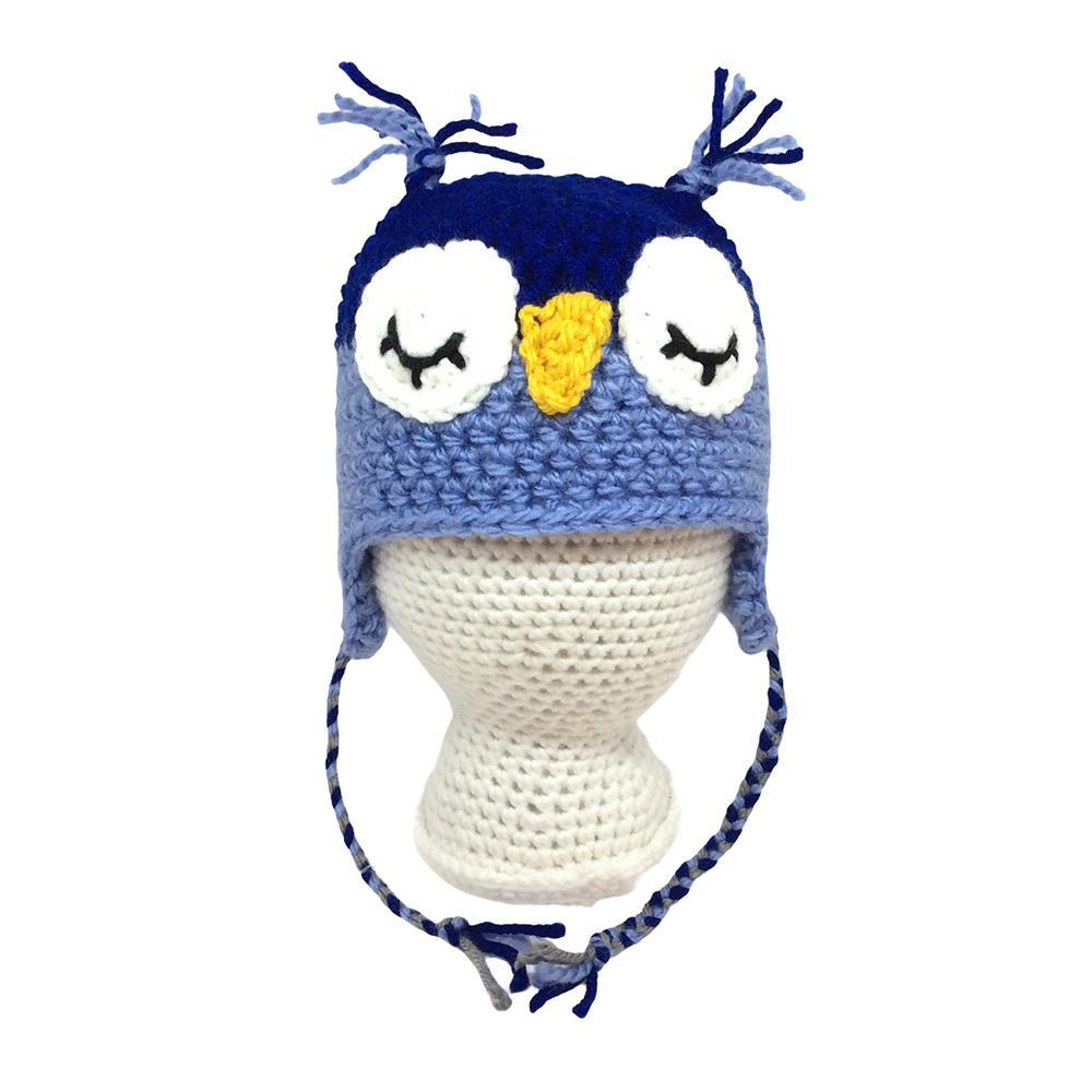 Infant Hat - Owl Royal Blue Periwinkle by Scary White Girl
