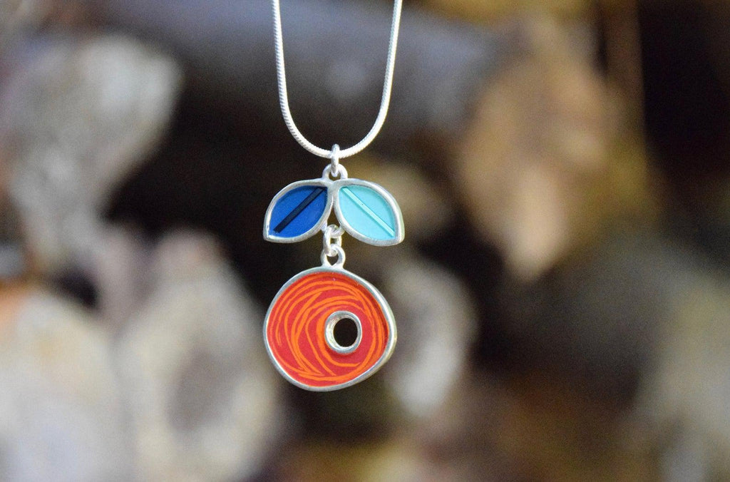 Necklace - Orange & Blue Dutch Short Vine by Happy Art Studio