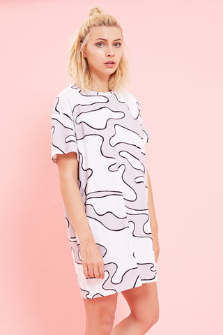 Bundy & Webster white and grey camo print dress