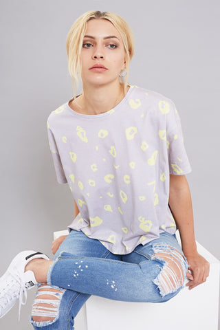Bundy & Webster grey and yellow leopard print t-shirt