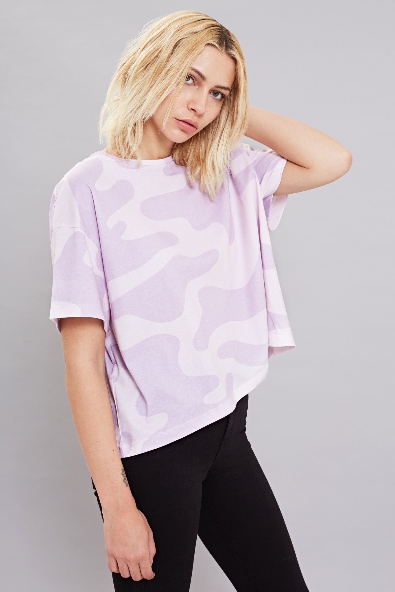 Bundy & Webster lilac camo print t-shirt