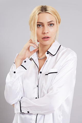 Bundy & Webster white silk feel oversize shirt