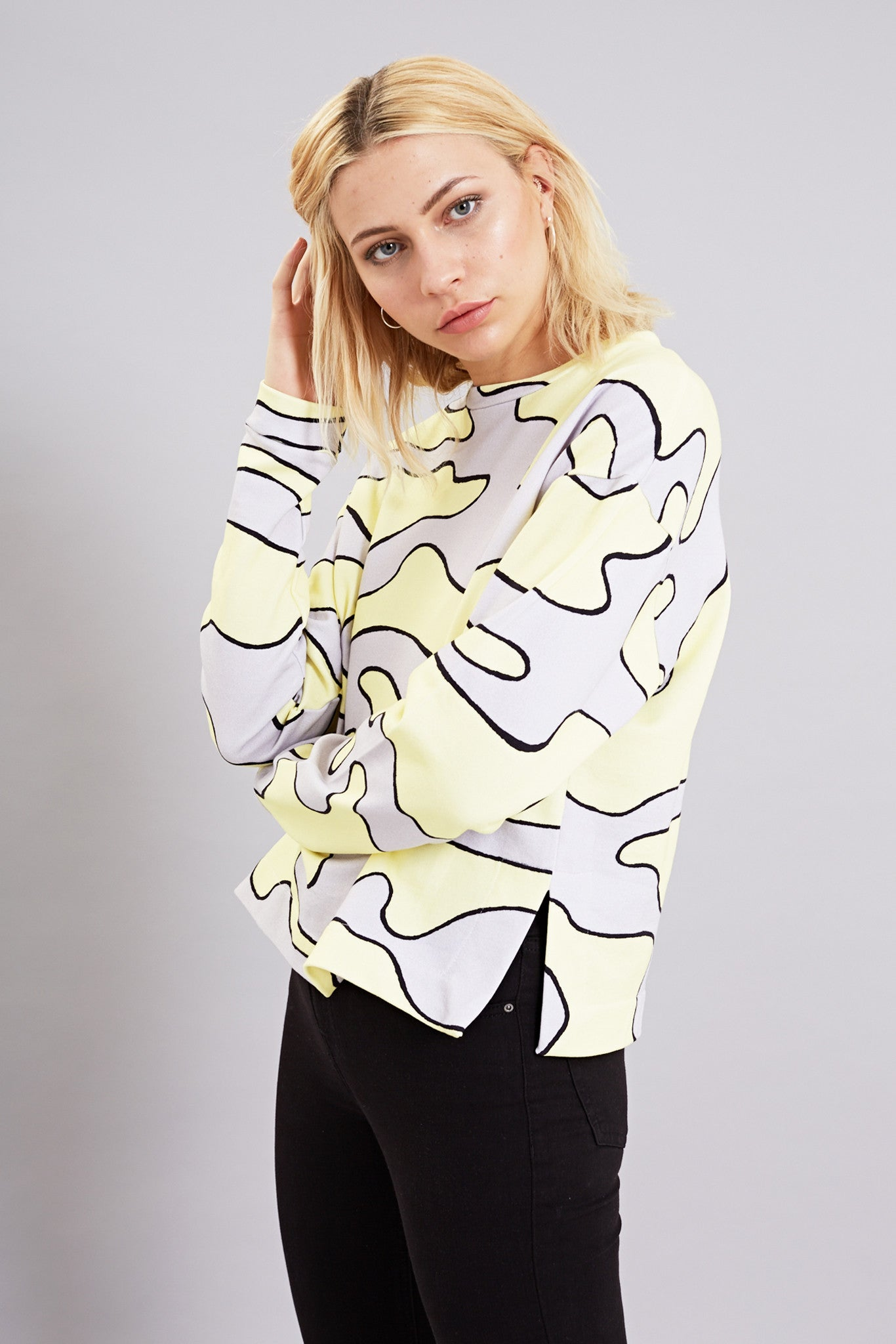 Bundy & Webster grey and yellow camo print jumper
