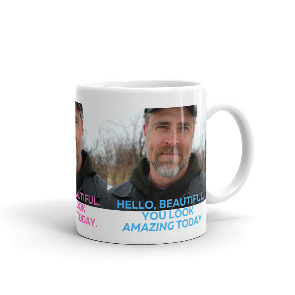 """Hello, Beautiful"" Coffee Mug, Color photo"