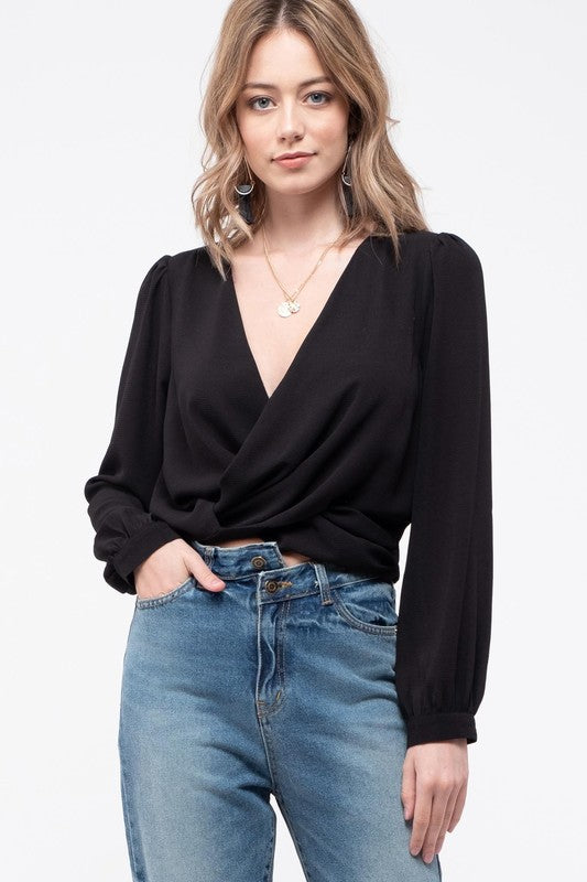 Black Twist-Front Cropped Blouse