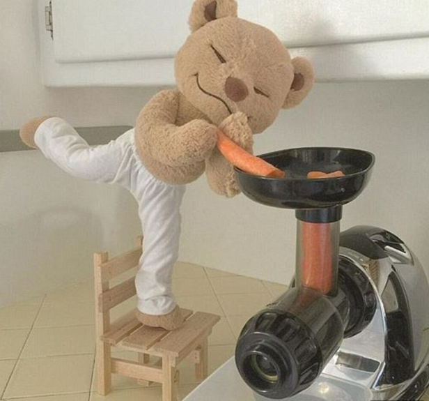 Meddy Teddy Juicing a Carrot
