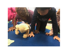 kids doing yoga with Meddy Teddy