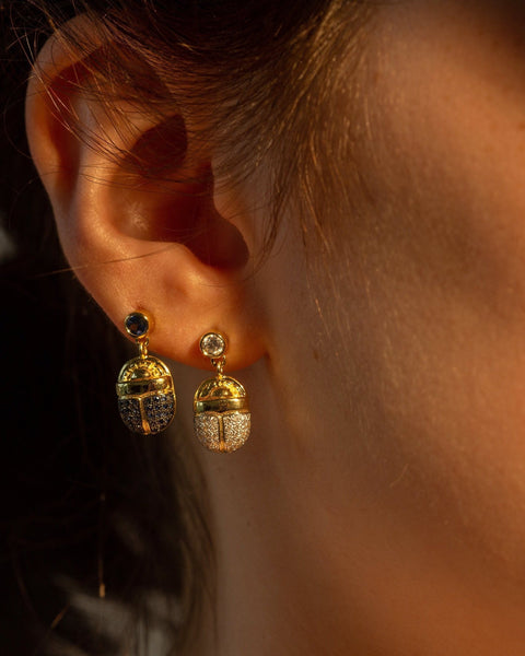 Pave Scarab Earrings