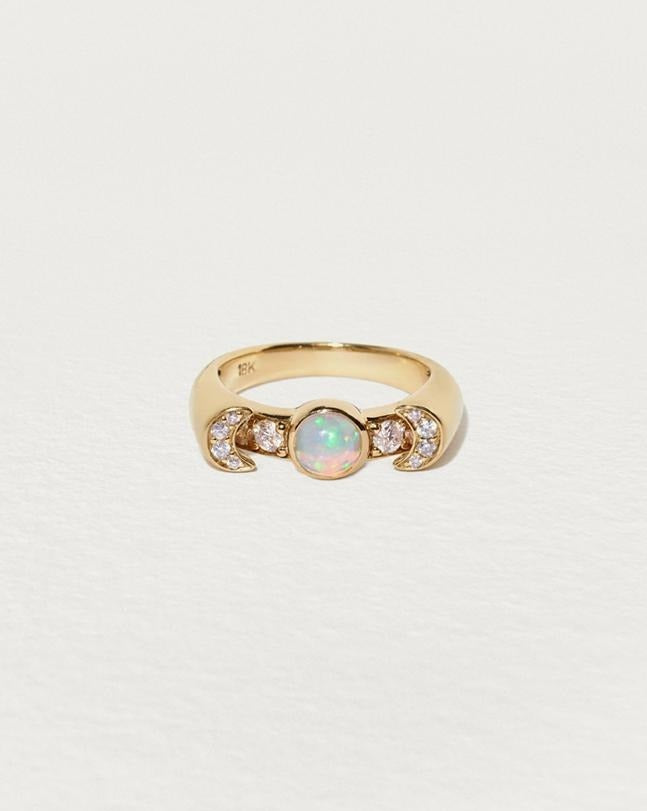luna ring with opal and diamonds