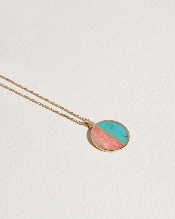 half moon pendant with pink opal and turquoise
