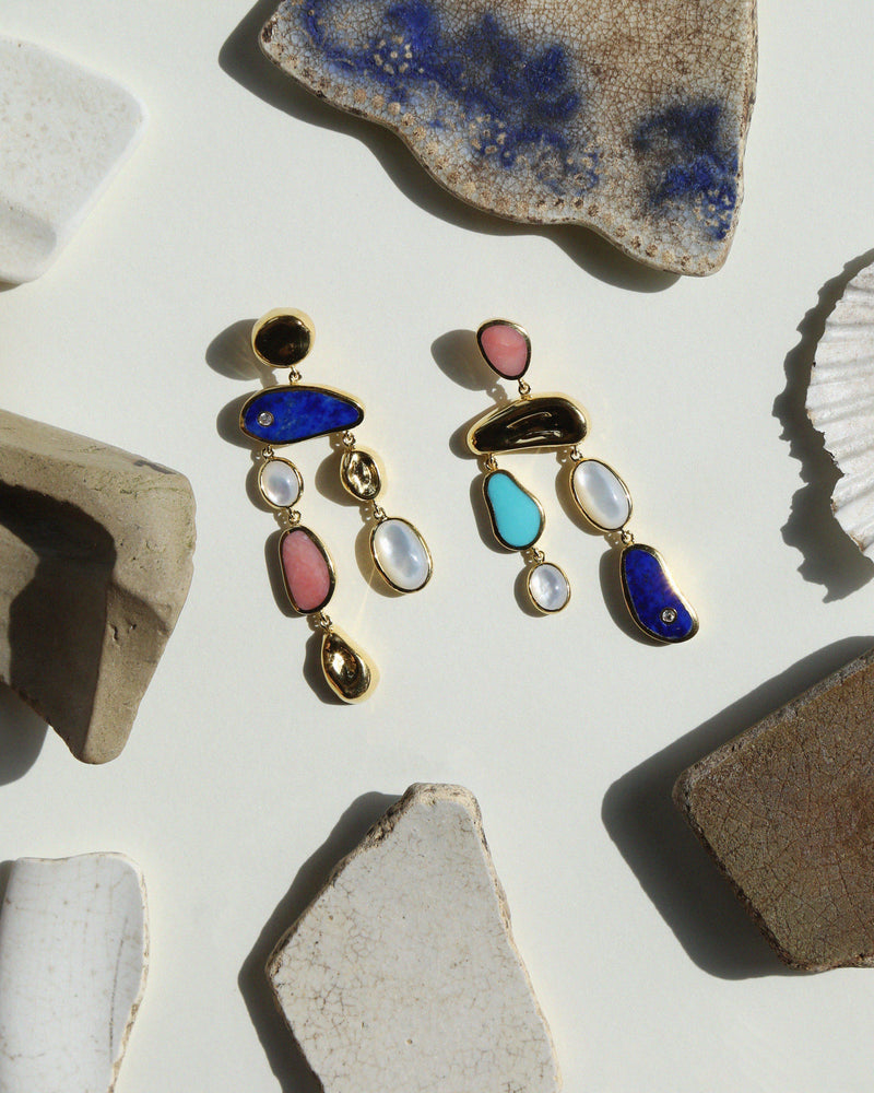 multi stone earrings by pamela love