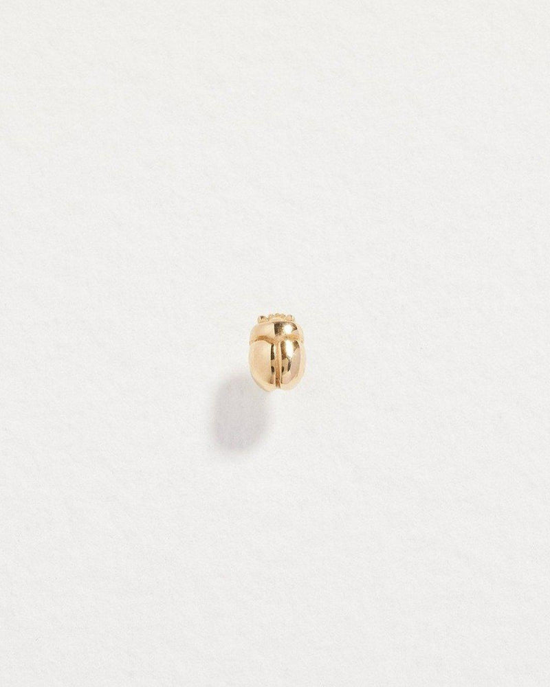 scarab stud earring with 14k yellow gold