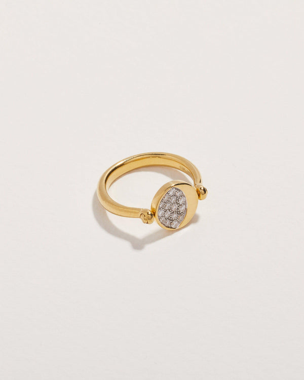 moon phase ring with diamonds and gold