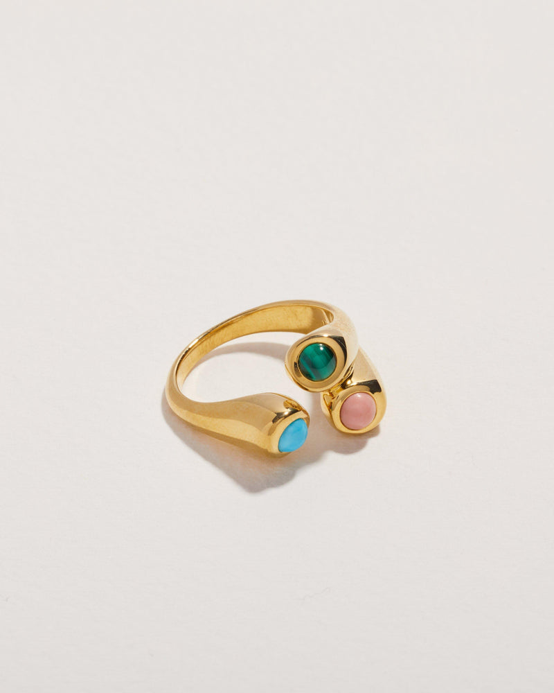 18k yellow gold aorta ring with malachite, pink opal and turquoise