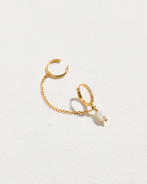 sara ar chain cuff earring with pearl