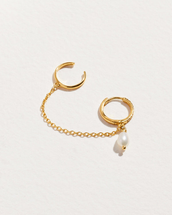 chain cuff earrings with pearl