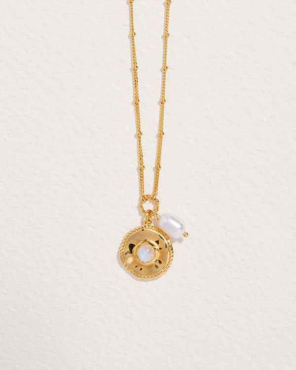 sara coin necklace with pearl