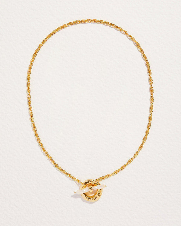 jasmine toggle necklace with pearl and gold chain
