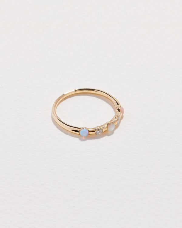 multi stone ring with opal, pink opal, diamond and pearl