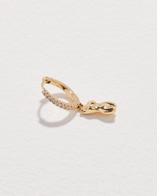 body huggie earring with 14k yellow gold and diamonds
