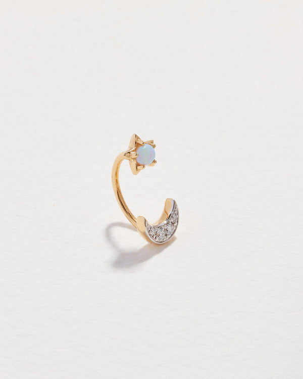 celestial gravitation hook piercing with opal and diamonds