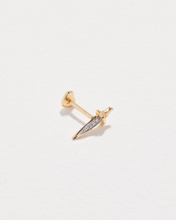 dagger stud piercing with gold and white diamonds