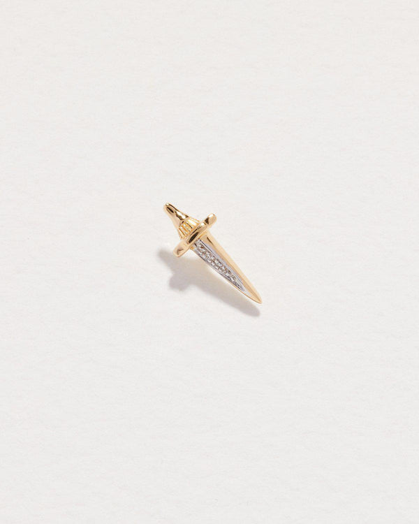 dagger stud earring with diamonds