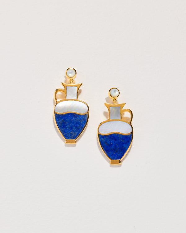 lapis vessel earrings with mother of pearl