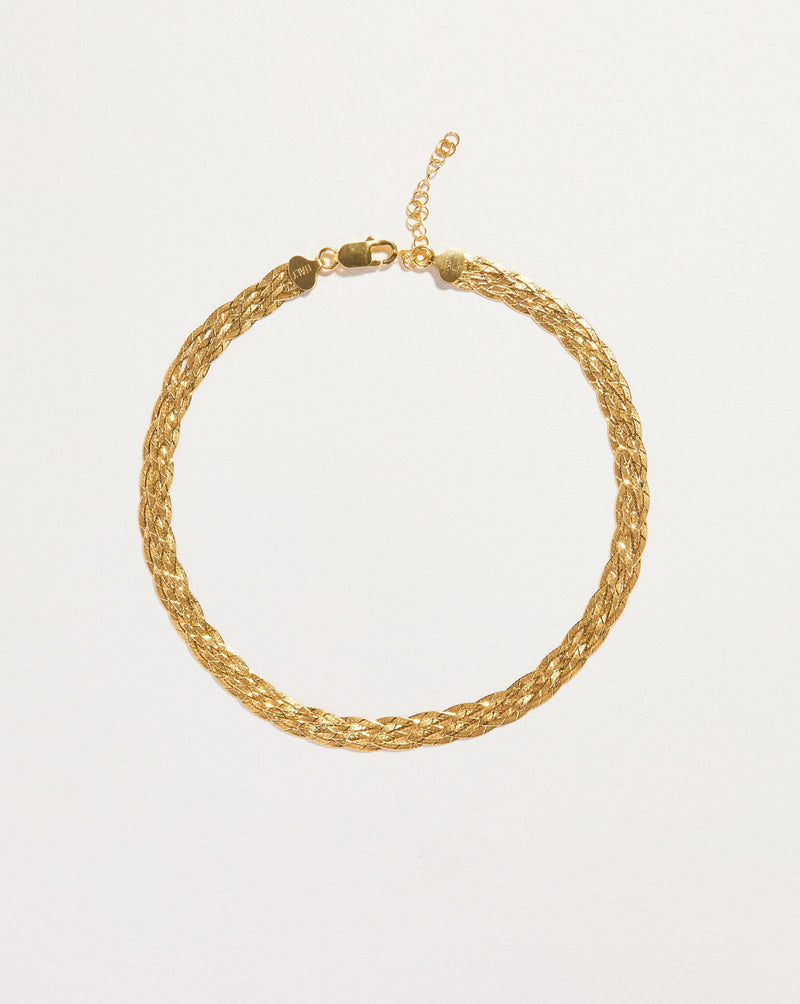 gold plate herringbone chain necklace
