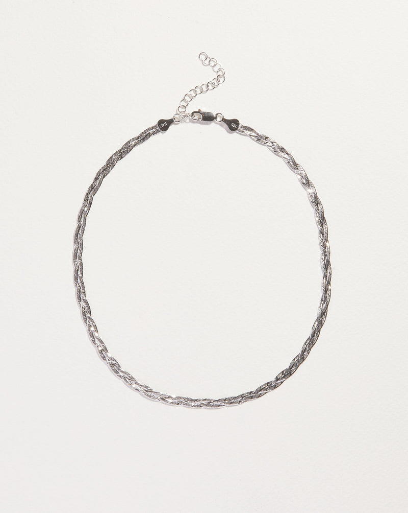 silver herringbone chain necklace