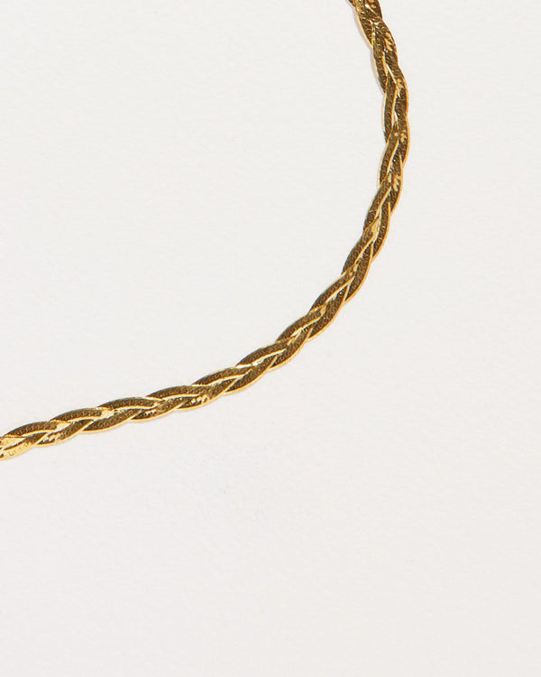 gold plate herringbone braided thin chain necklace