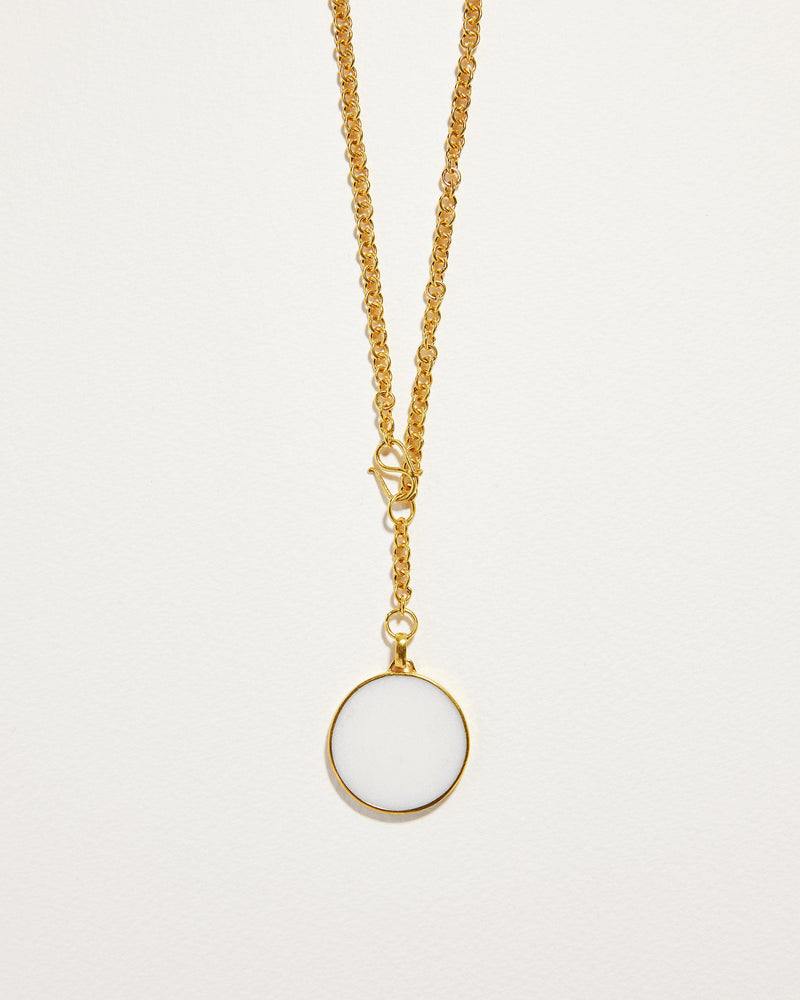 quartz full moon necklace