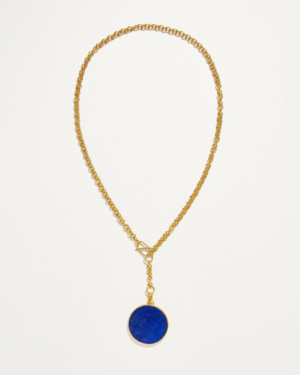 lapis full moon necklace