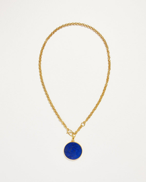 full moon necklace with lapis lazuli