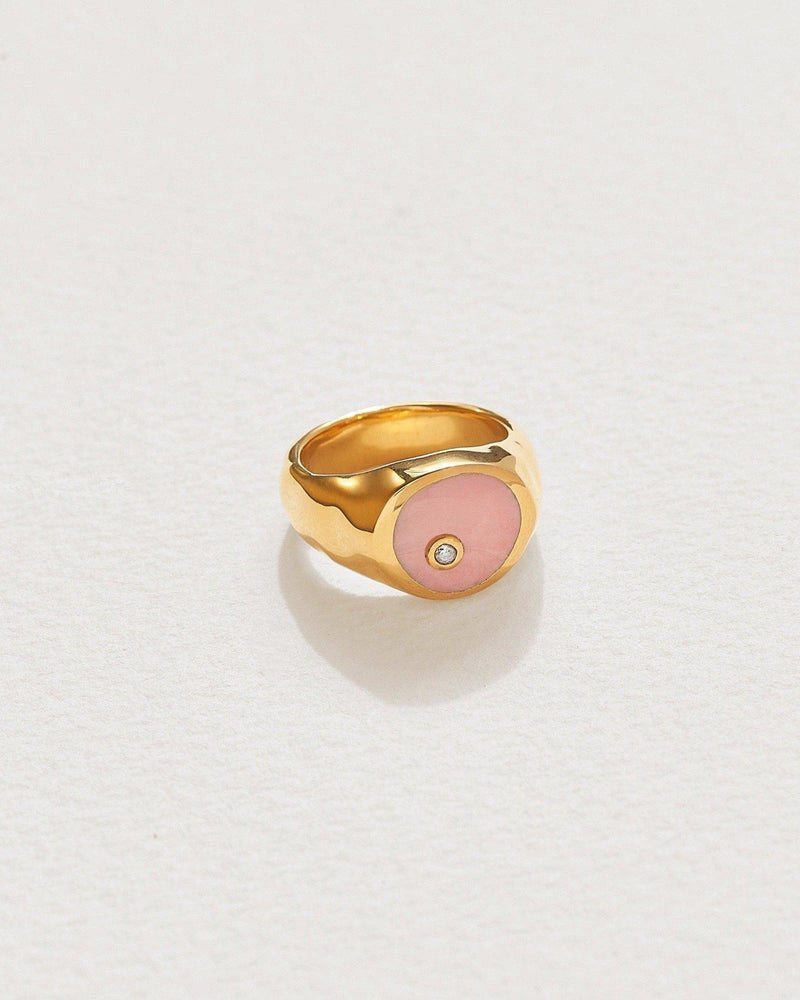 alexander signet ring with pink opal