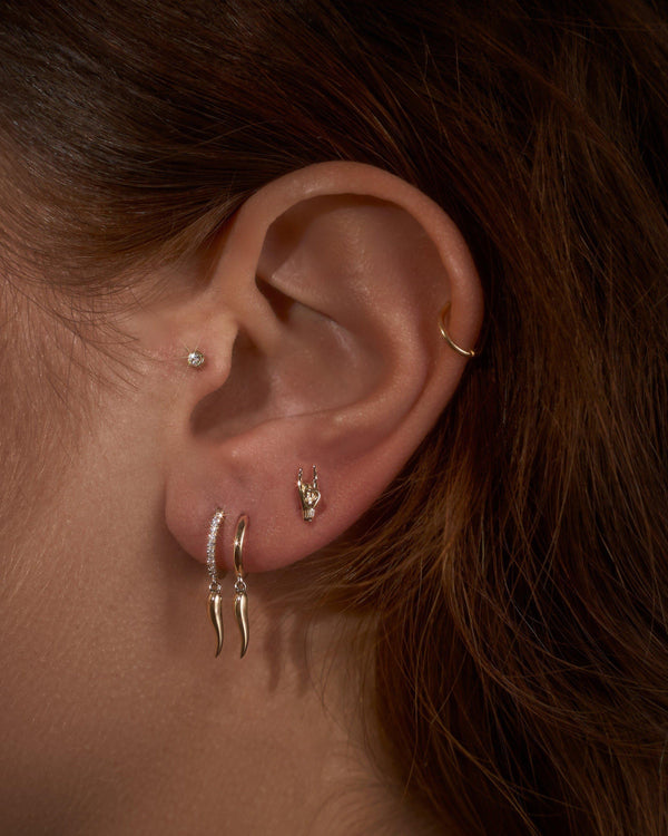 huggie earrings and piercings on the model