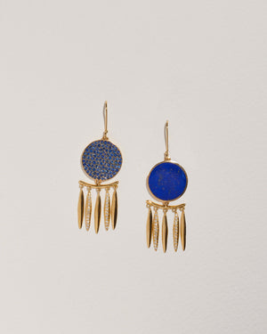 chandelier earrings with lapis lazuli, diamonds and sapphire