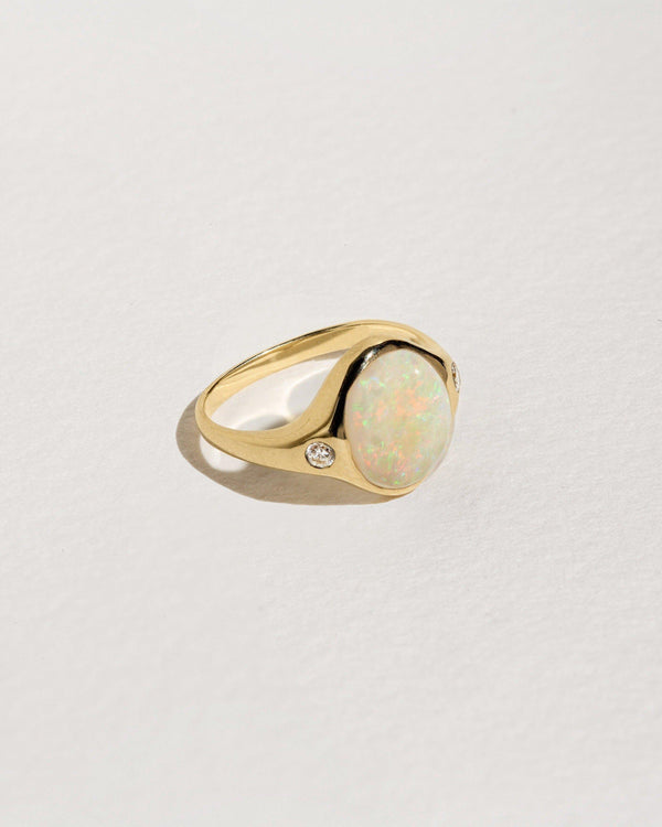 opal ring with 10k yellow gold and white diamonds