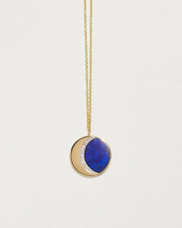 lapis moon phase necklace with diamonds