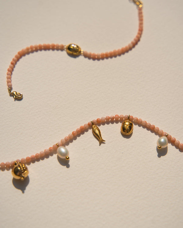 journey necklace with pink opal beads