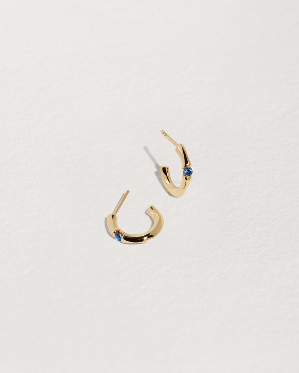 gold hoop earrings with sapphire