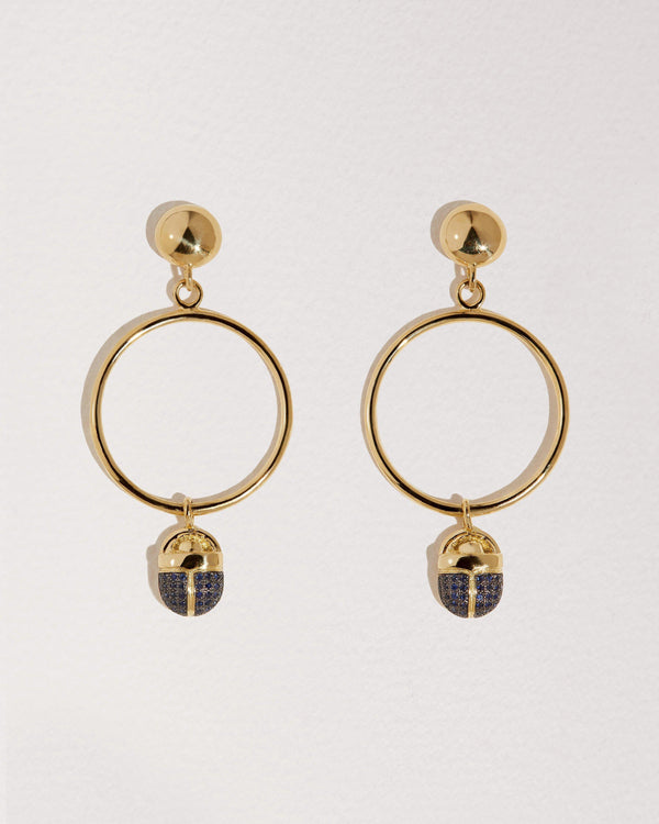 Pavé Scarab Circle Earrings