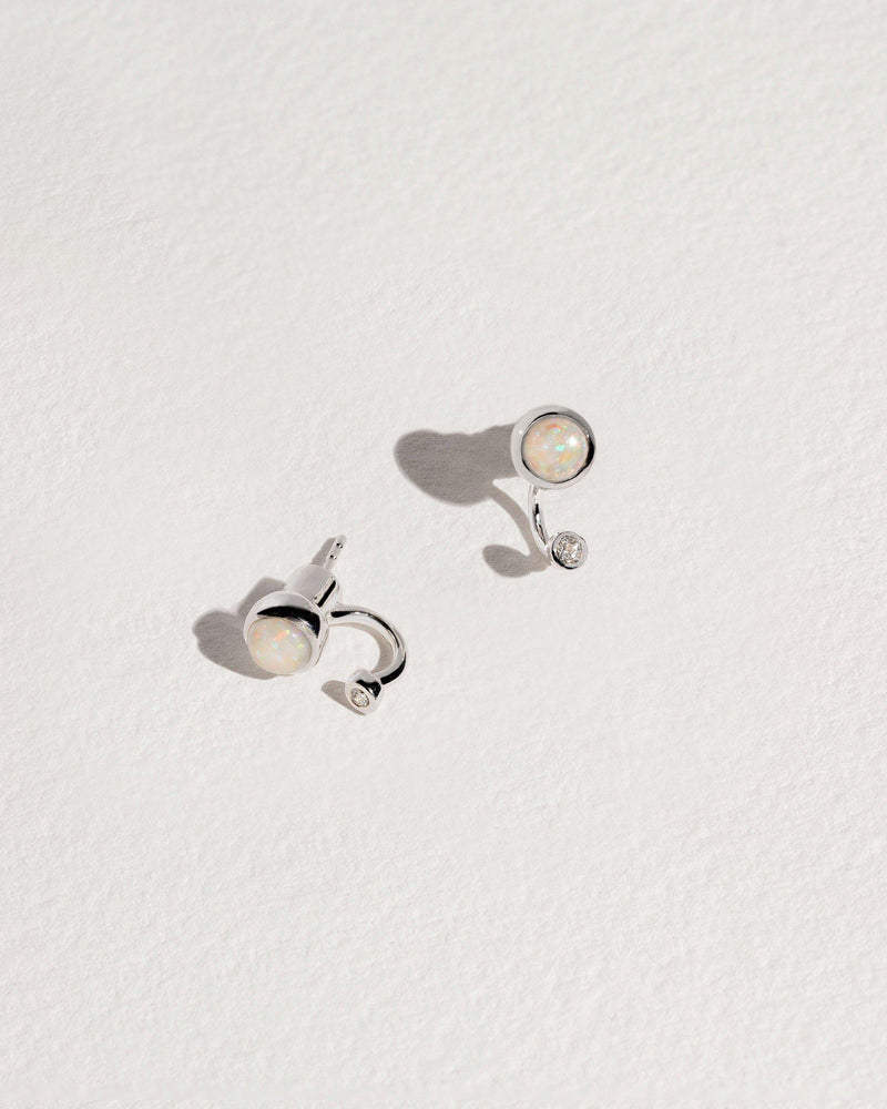 gravitation earrings with opal and white topaz