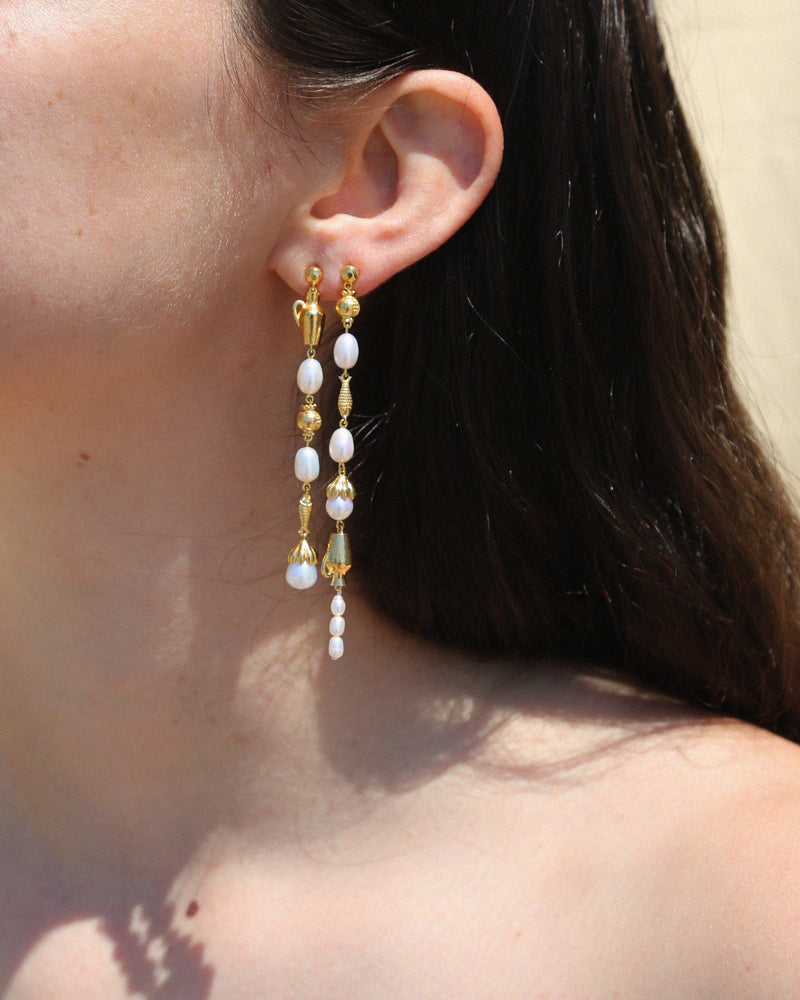 pearl drop earrings by pamela love