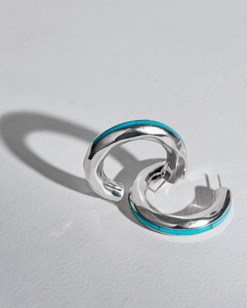 silver hoop earrings with turquoise