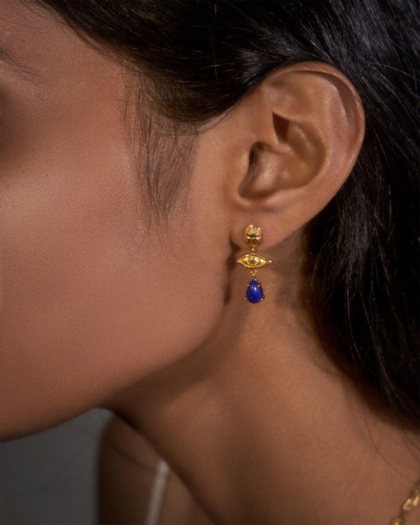 teardrop earrings with lapis on the model
