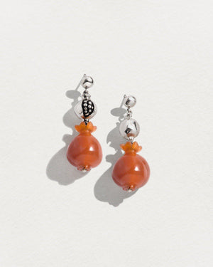 carnelian pomegranate earrings