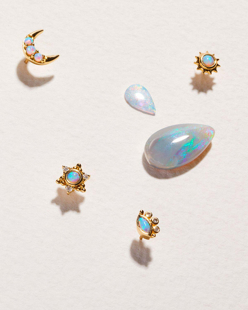 celestial opal stud piercings by pamela love