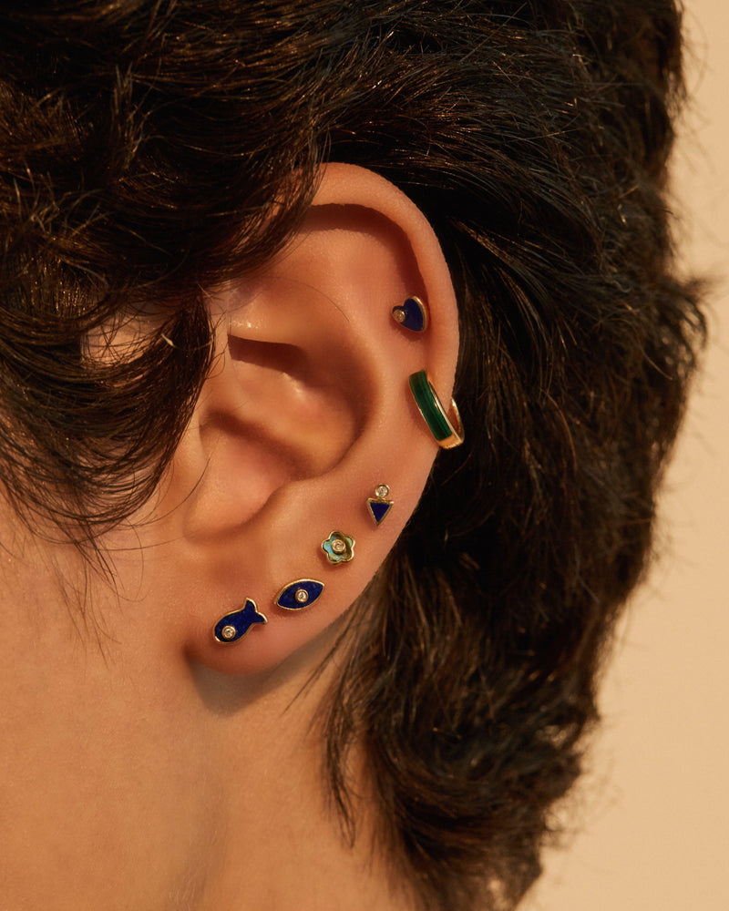 ear piercings on the model